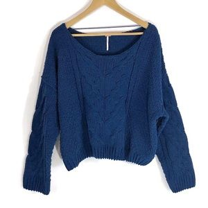 Free People Blue Chunky Ribbed Cable KnIt Sweater